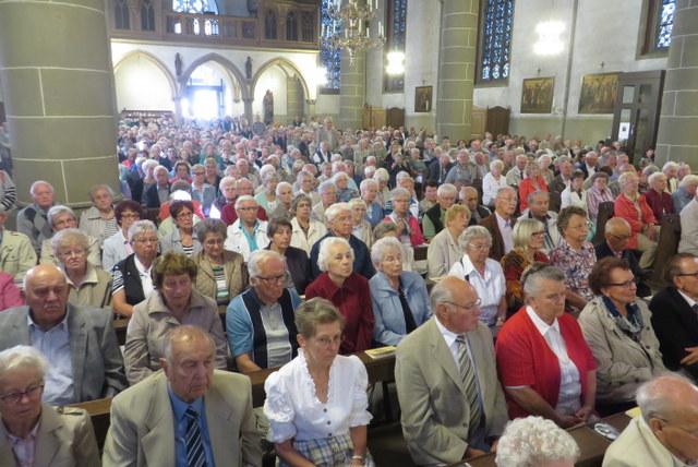 69. Glatzer Wallfahrt in Telgte 2015: Die Wallfahrer in der vollbesetzten Wallfahrtskirche
