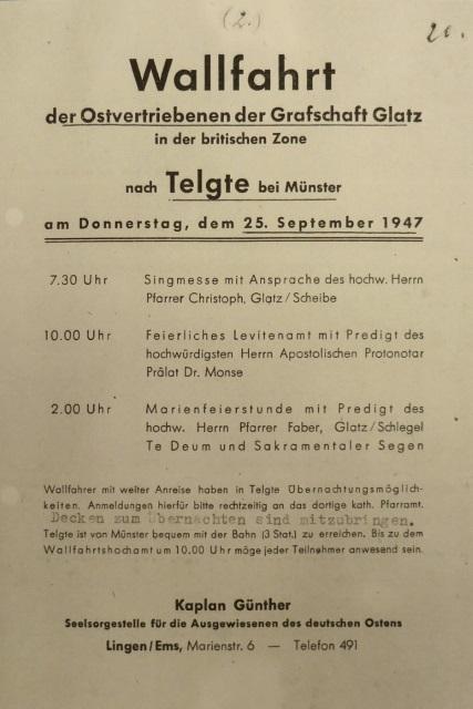70. Glatzer Wallfahrt in Telgte 2016: Programm-Plakat der ersten Glatzer Wallfahrt nach Telgte 1947