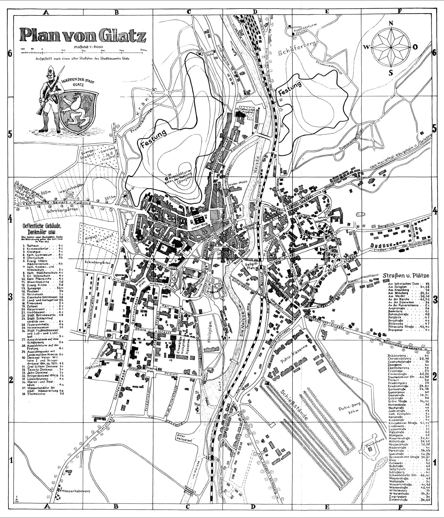 Schlesien Karte Heute.Historischer Stadtplan Von Glatz
