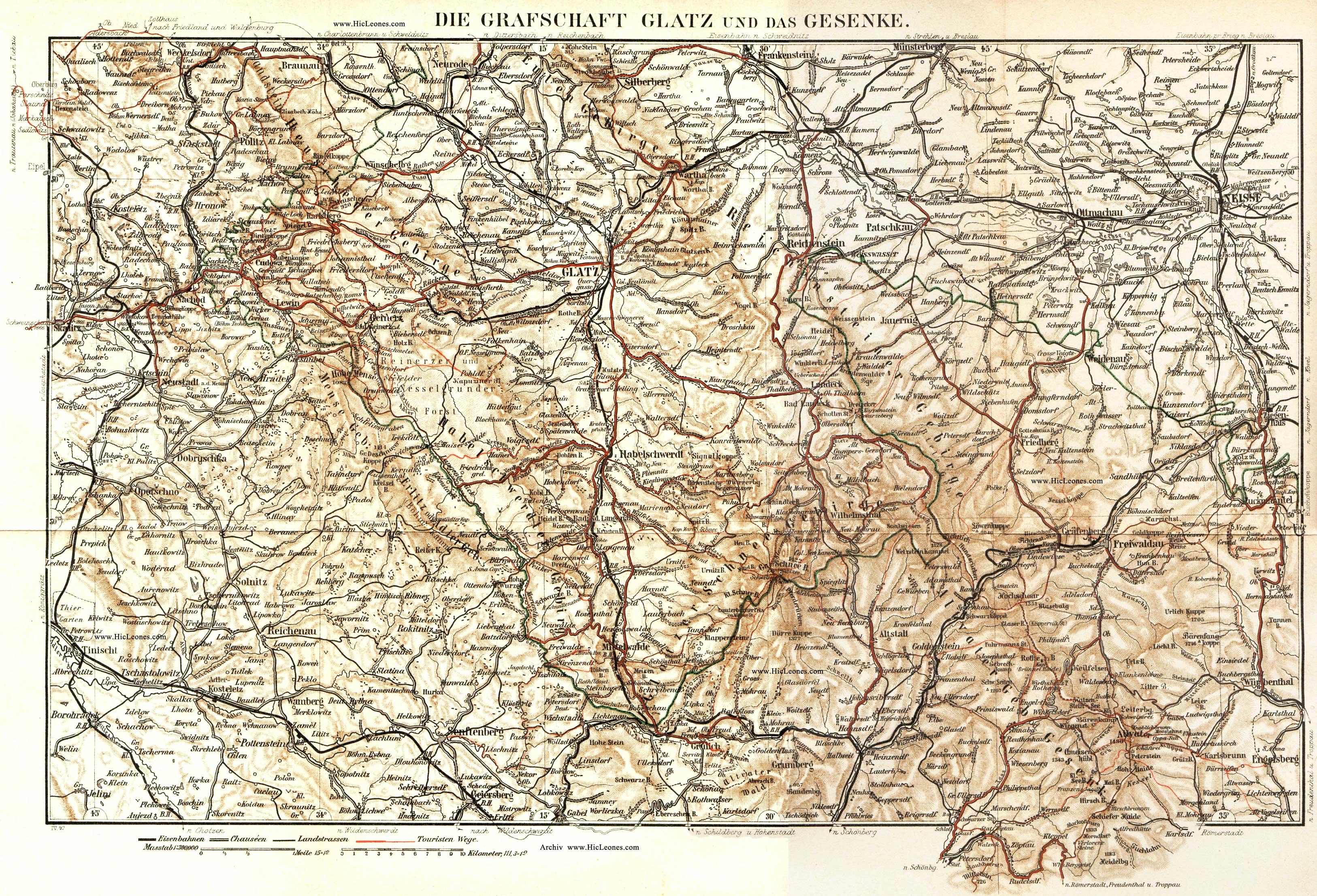 Schlesien Karte Deutsche Ortsnamen.Meyers Reisebücher 1894
