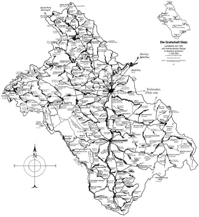 Schlesien Karte Deutsche Ortsnamen.Zweisprachige Karte Der Grafschaft Glatz